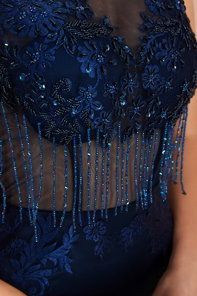 Fascinating Jewel Satin Mermaid Prom Dress_9