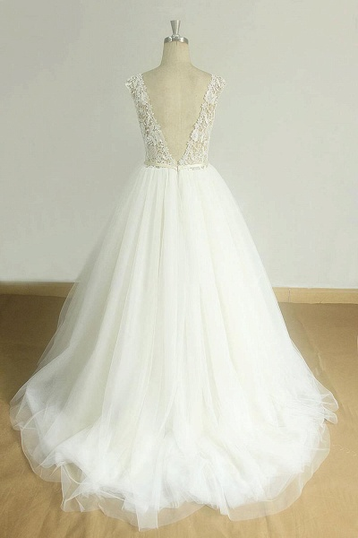 Graceful Open Back Lace Tulle A-line Wedding Dress_3