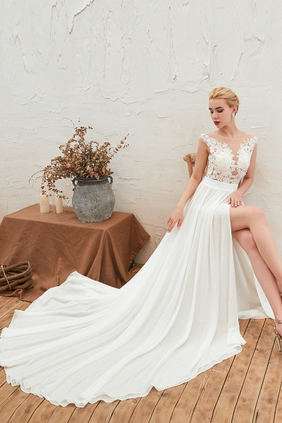 High Slit Appliques Chiffon A-line Wedding Dress_11