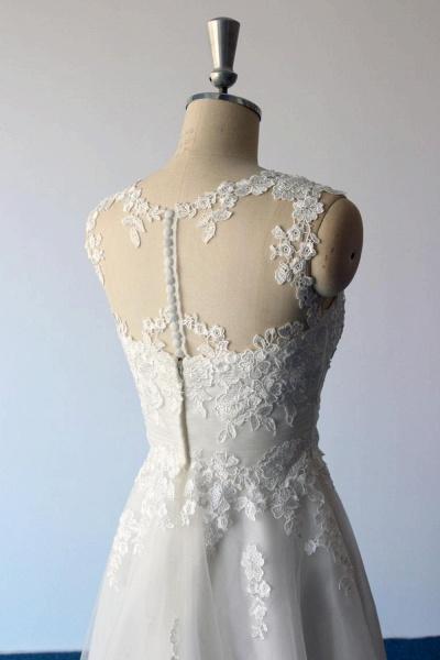 Illusion Lace Tulle A-Line Mini Wedding Dress_6