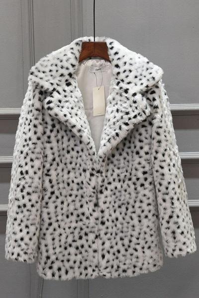 Women's Fall & Winter Leopard Daily Faux Fur Coat_1