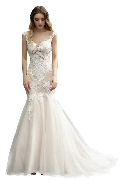 Mermaid Floor Length Lace Tulle Wedding Dresses_5
