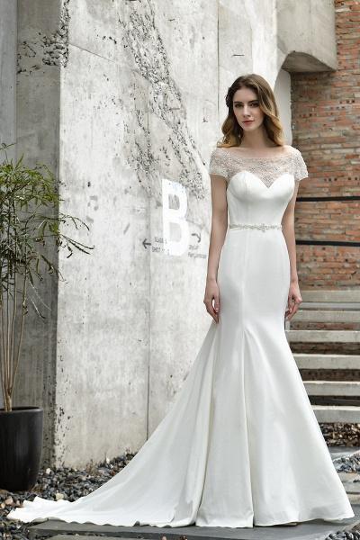 Short Sleeve Lace Mermaid Pearls Wedding Dress With Belt_2