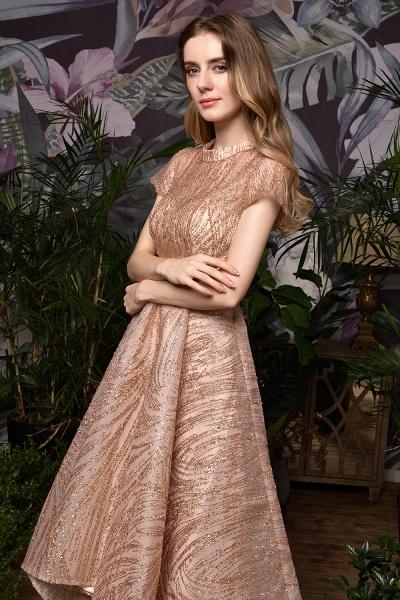 High neck Champange Short Sleeve Sequined Prom Dress_10