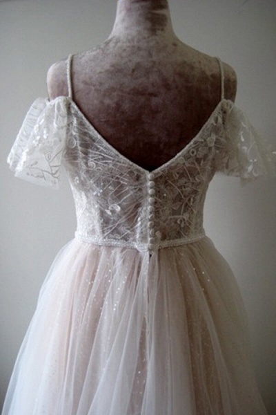 Glorious Cold-shoulder Chapel Train Wedding Dress_6