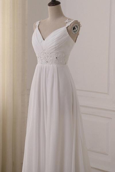 Ruffle V-neck Empire Chiffon A-line Wedding Dress_6