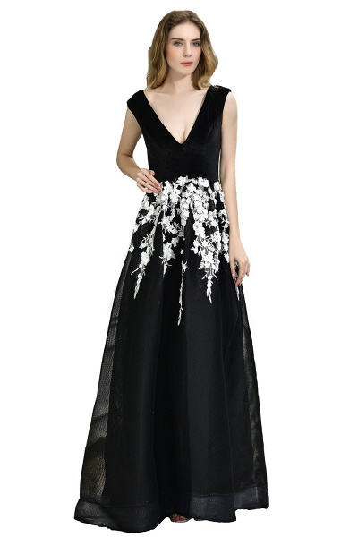 Appliques V-neck Floor Length A-line Prom Dress_1