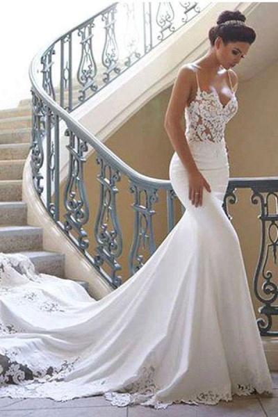 Precious Spaghetti Strap Lace Mermaid Wedding Dress_3