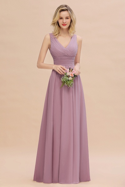 BM0752 Elegant A-line V-Neck Ruffles Long Bridesmaid Dress_43