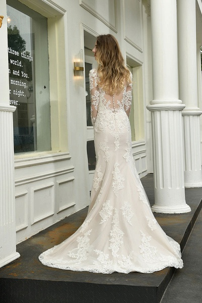 Exquisite V-Neck Long Sleeve Mermaid Wedding Dress_3