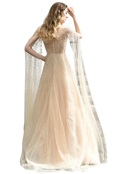 Luxury Shawl Sequined A-line Long Prom Dress_5