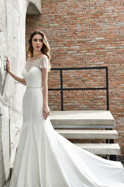 Short Sleeve Lace Mermaid Pearls Wedding Dress With Belt_3