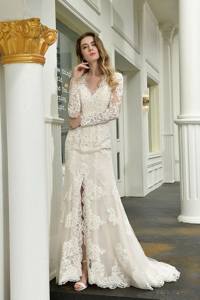 Exquisite V-Neck Long Sleeve Mermaid Wedding Dress_9