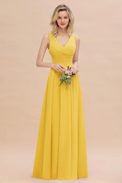 BM0752 Elegant A-line V-Neck Ruffles Long Bridesmaid Dress_17