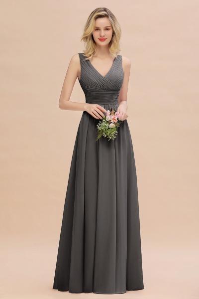 BM0752 Elegant A-line V-Neck Ruffles Long Bridesmaid Dress_46