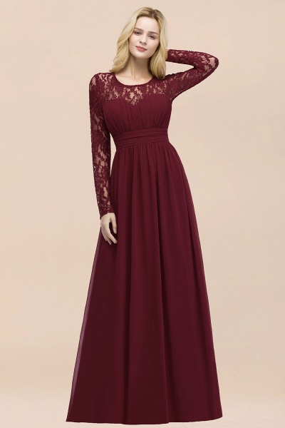 Elegant A-Line Chiffon Jewel Long Sleeves Ruffles Floor-Length Bridesmaid Dresses_53