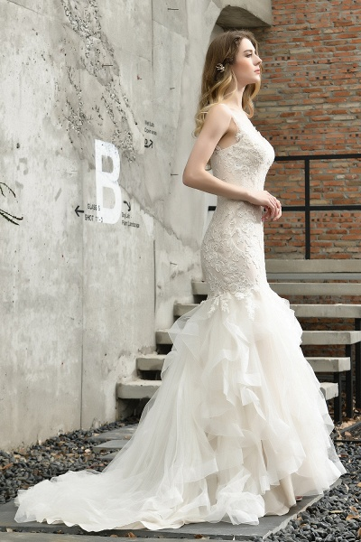 Mermiad Sweetheart Floral Lace Floor Length Wedding Dress_10