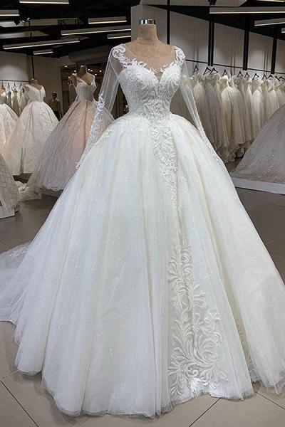 Elegant Long Sleeve Ball Gown Tulle Wedding Dress_1