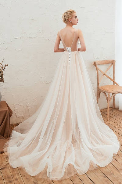 Eye-catching Appliques Tulle A-line Wedding Dress_4