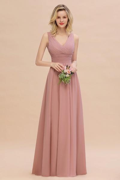 BM0752 Elegant A-line V-Neck Ruffles Long Bridesmaid Dress_50