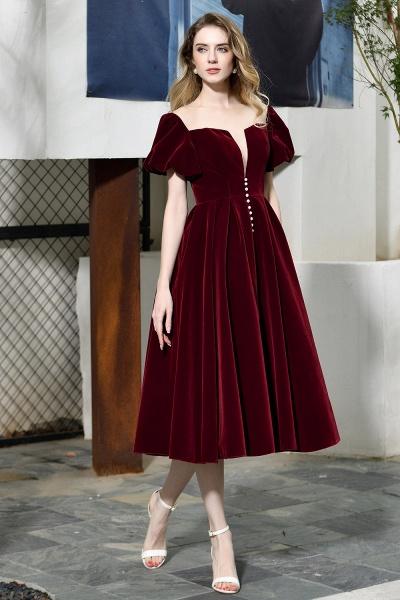 Burgundy Velvet Bubble Sleeve V-neck Short Prom Dress_4