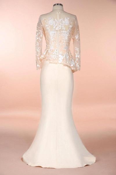 Modest High Neck Lace Mermaid Evening Dress_6