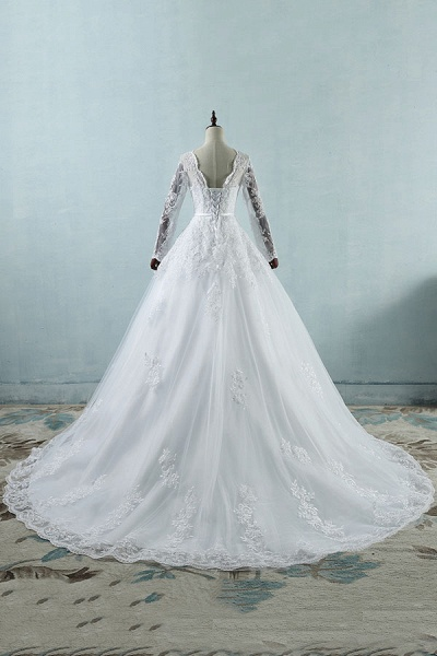 Long Sleeve Appliques Tulle A-line Wedding Dress_3
