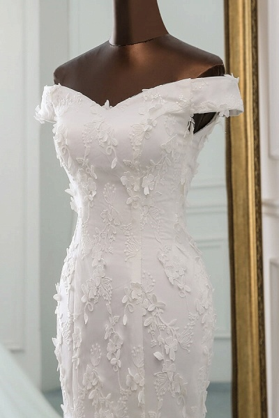 Off Shoulder Lace-up Applique Mermaid Wedding Dress_5