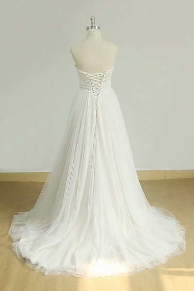 Lace-up Strapless Tulle A-line Wedding Dress_3