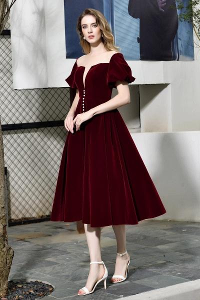 Burgundy Velvet Bubble Sleeve V-neck Short Prom Dress_5