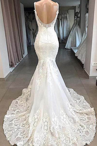 Amazing Appliques Tulle Mermaid Wedding Dress_3