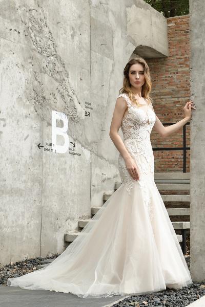 Mermaid Floor Length Lace Tulle Wedding Dresses_7