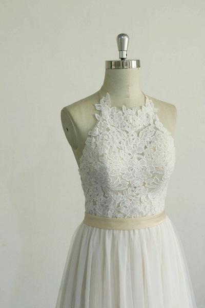 Elegant Halter Lace Tulle A-line Wedding Dress_6