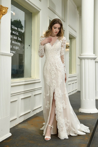 Exquisite V-Neck Long Sleeve Mermaid Wedding Dress_10