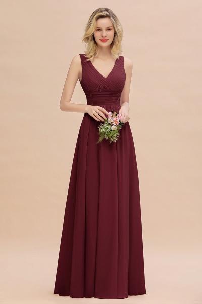 BM0752 Elegant A-line V-Neck Ruffles Long Bridesmaid Dress_10