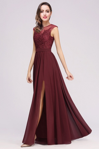 Lace Chiffon Floor-Length A-line Bridesmaid Dress_15