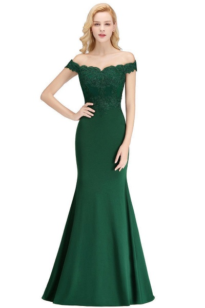 Mermaid Off-the-shoulder Long Appliques Bridesmaid Dress_8