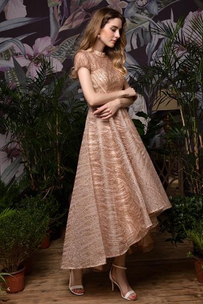 High neck Champange Short Sleeve Sequined Prom Dress_4