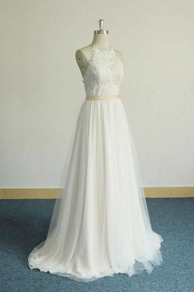 Elegant Halter Lace Tulle A-line Wedding Dress_4