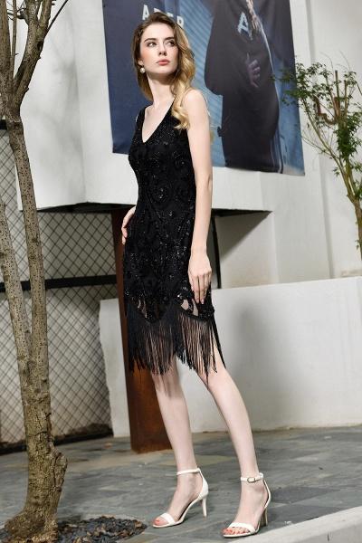 Chic Fringed Sequins V-neck Knee Length Prom Dress_4