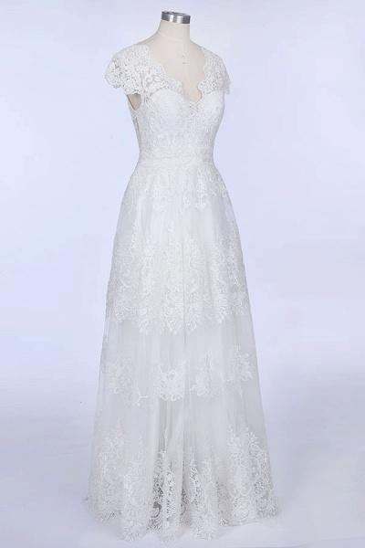 Best Cap Sleeve V-neck Sweep Train Wedding Dress_5