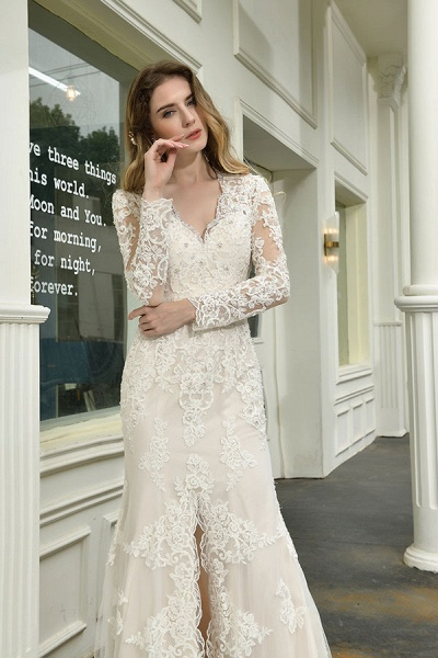 Exquisite V-Neck Long Sleeve Mermaid Wedding Dress_11