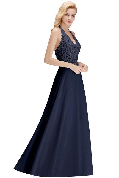 Halter Composite Emulation Silk A-line Floor Length Bridesmaid Dress_23