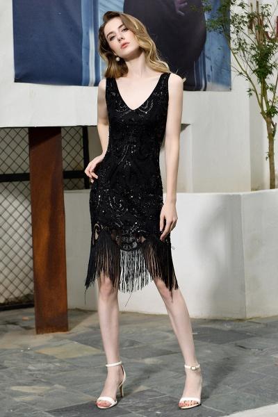 Chic Fringed Sequins V-neck Knee Length Prom Dress_7