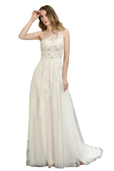 One Shoulder Lace Tulle Backless Wedding Dresses_4