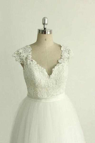 Appliques Cap Sleeve Tulle A-line Wedding Dress_4
