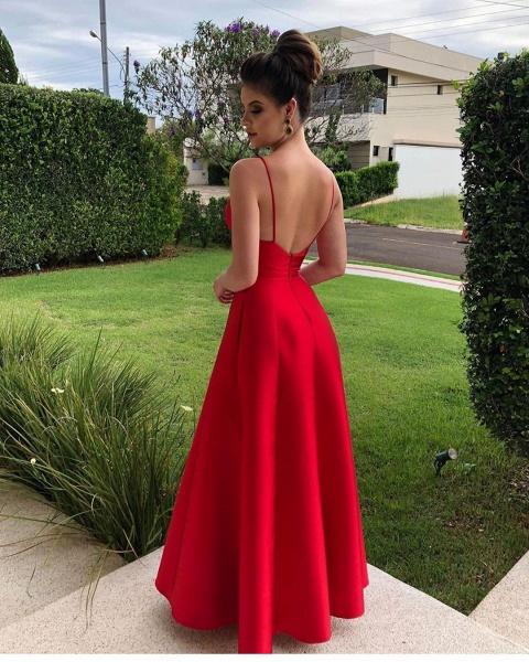 Sleek V-neck Satin A-line Prom Dress_2