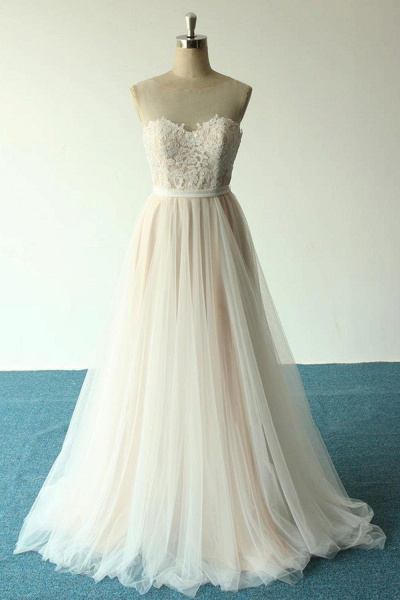 Awesome Illusion Lace Tulle A-line Wedding Dress_1
