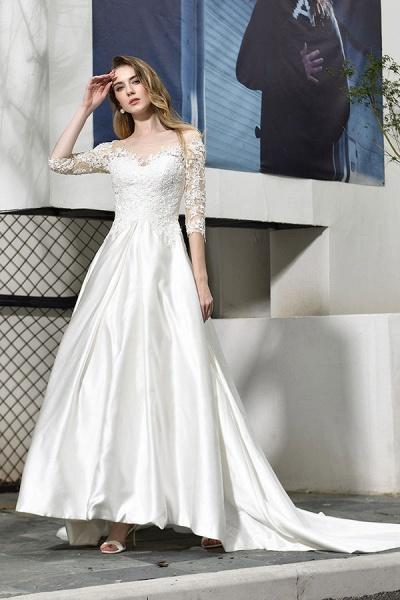 Elegant Lace-up A-Line Applique Satin Wedding Dress_5