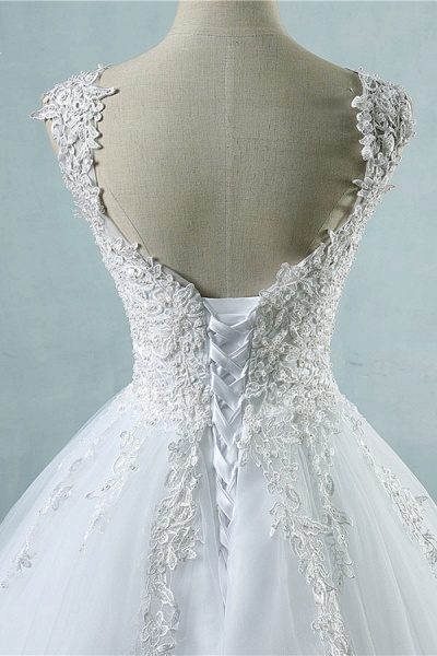 Lace-up Appliques Tulle A-line Wedding Dress_5